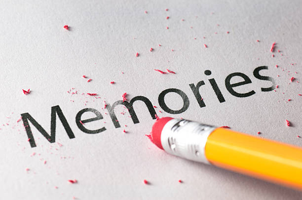 "Tip of yellow pencil erasing the word ""memories."""